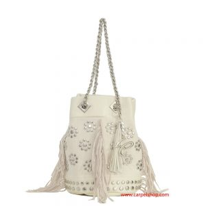 La Carrie Bag Canvas Frange Panna fronte
