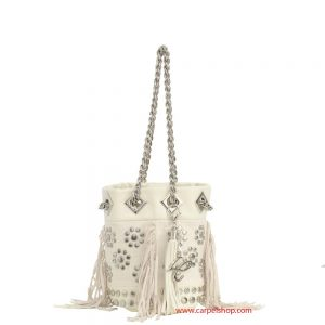 La Carrie Bag Mini Canvas e frange panna fronte