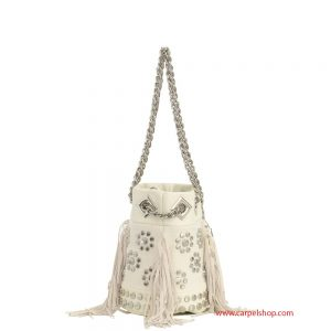 La Carrie Bag Mini Canvas e frange panna