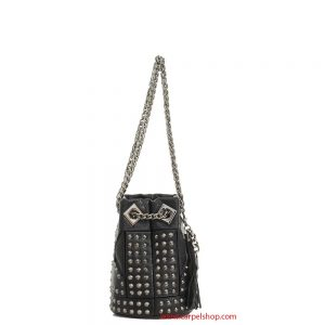 La Carrie Bag Intagli e Borchie Nero Mini lato