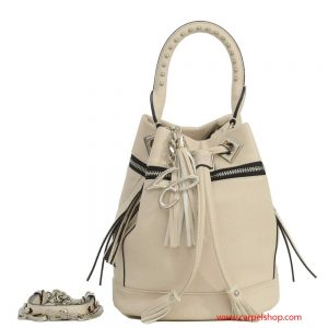 La Carrie Bag Secchiello Zip e Borchie Beige