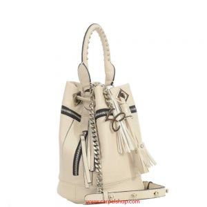 La Carrie Bag Secchiello Zip e Borchie Beige lato