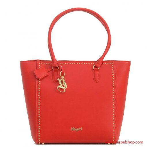 blugirl-shopper-microrivetti-rosso-fronte