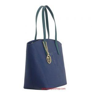 Trussardi Jeans Ischia Shopper Blu lato