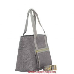 Borsa Borbonese Shopper Slate Grey lato