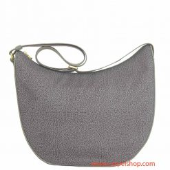 Borbonese Luna Bag Medium Slate Grey fronte
