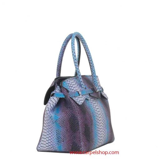 Borsa Save My Bag Miss Plus Python Bianco lato