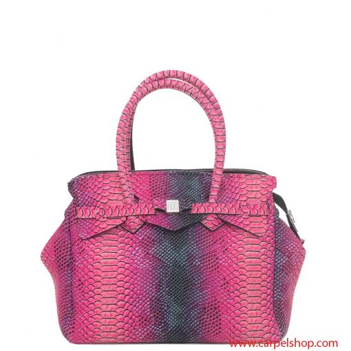 Borsa Save My Bag Miss Plus Python Rosa